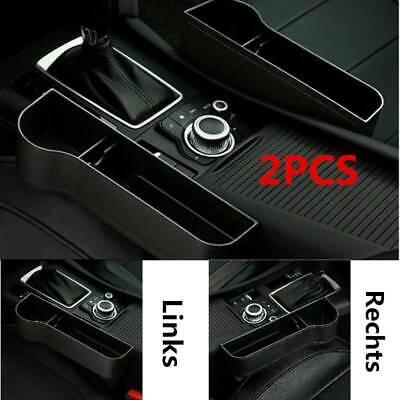 Links Leder Autositz Tasche Aufbewahrung Box Ablagefach Becherhalter Schwarz