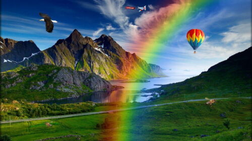 Rainbow Over The Mountain Valley Boys Kids T-Shirt Tee Age 3-13