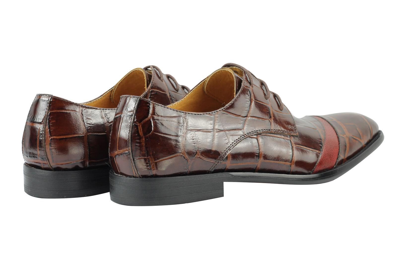 Braun Uomo Real Genuine Leder Braun  Crocodile Skin Effect Smart Dress Lace up Schuhes 2314b4