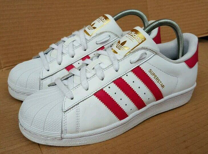 ADIDAS SUPERSTAR PINK SHELL TOE Weiß & PINK SUPERSTAR TRAINERS SIZE 5.5 UK GOLD LOGO EXCELLENT 7555ec