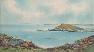 ENGLISH-COASTLINE-Watercolour-Painting-F-LENTON-c1950-IMPRESSIONIST