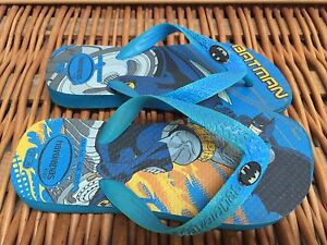 1d17315aabc1 Boys BATMAN Flip Flops Blue HAVAIANAS Foam Thong Beach SANDALS 1 ...