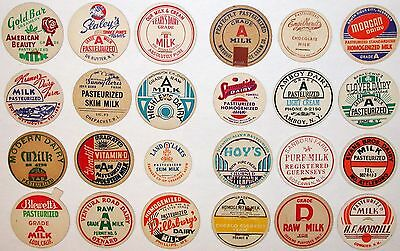 Vintage milk bottle caps LOT OF 24 DIFFERENT originals #36 unused new old stock