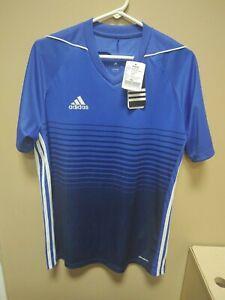 Details about New Adidas Men Medium Cllmacool Tiro 17 Soccer Jersey Blue/White BR6838