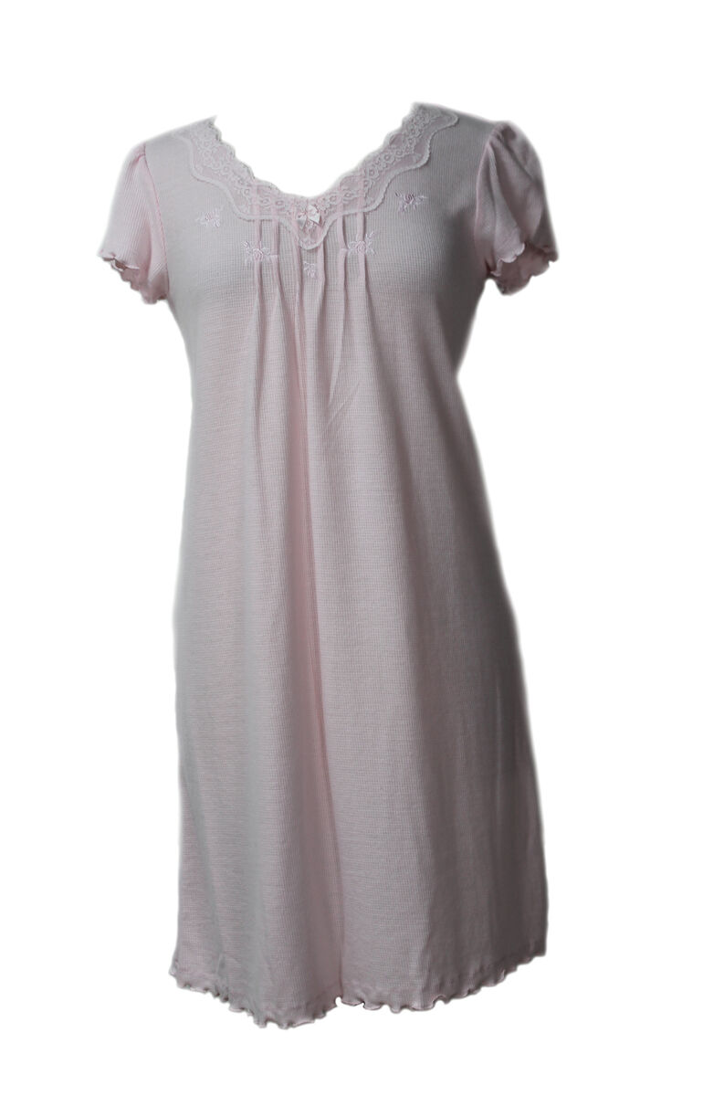 206905 New Pink Miss Elaine Pink Waffle Knit Short Gown Nightgown Sleepwear
