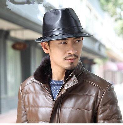 Men Women Leather Bowler Cap Black Jazz Vintage Casual Short Brim Gentleman Hat