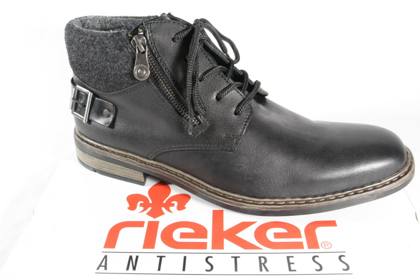 Rieker Men's Boots F1230 Ankle Boots Winter Boots, Black, Leather New