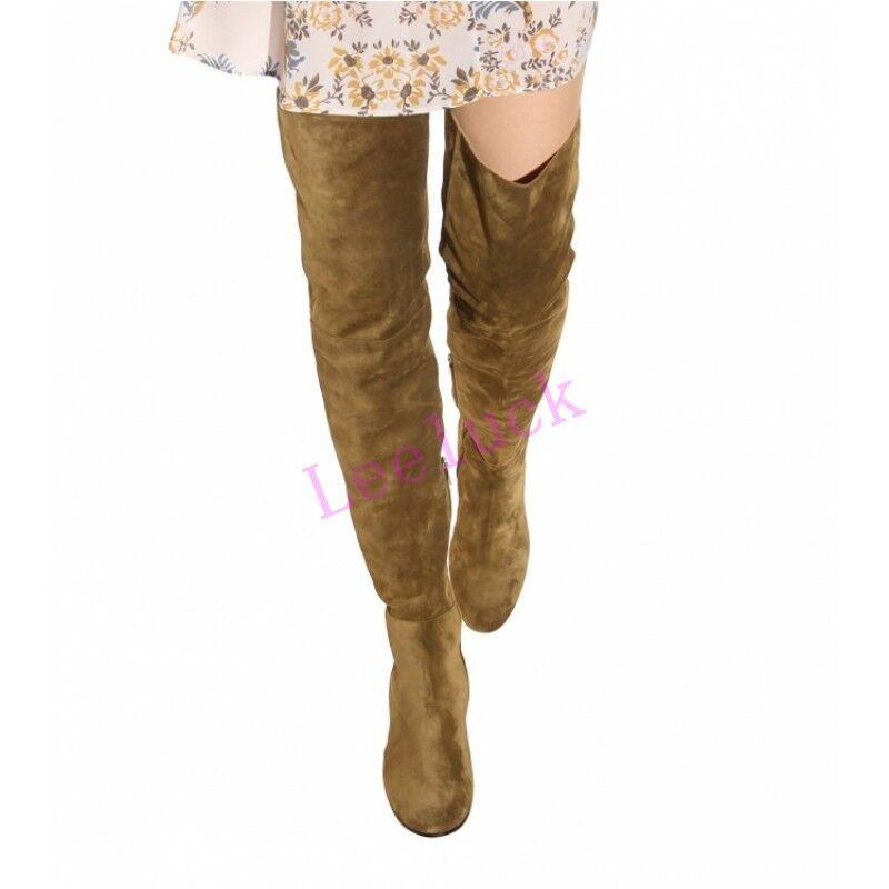 Zapatos de bloque tacón alto Mujer bloque de elástico alto encima de la rodilla botas Zapatos De Gamuza Slouch De Talla 64b3cb