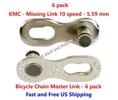 6 5.59 mm Six KMC Missing Link 10 Speed Bicycle Master Links Chain Links