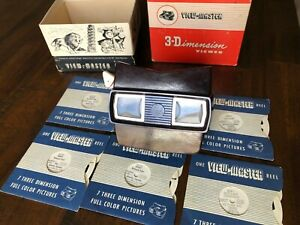 Vintage-Sawyer-039-s-View-Master-Model-E-3D-Dimension-Viewer-1950s-6-Reels