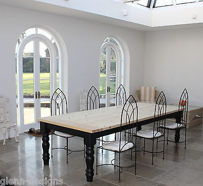 10,12, Seater Farmhouse Dining Table, 40mm stained or painted top, 110mm leg