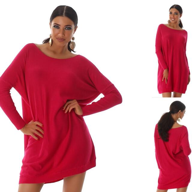 VOYELLES Pullover Longpullover Strickkleid Feinstrick oversized Größe 36-40