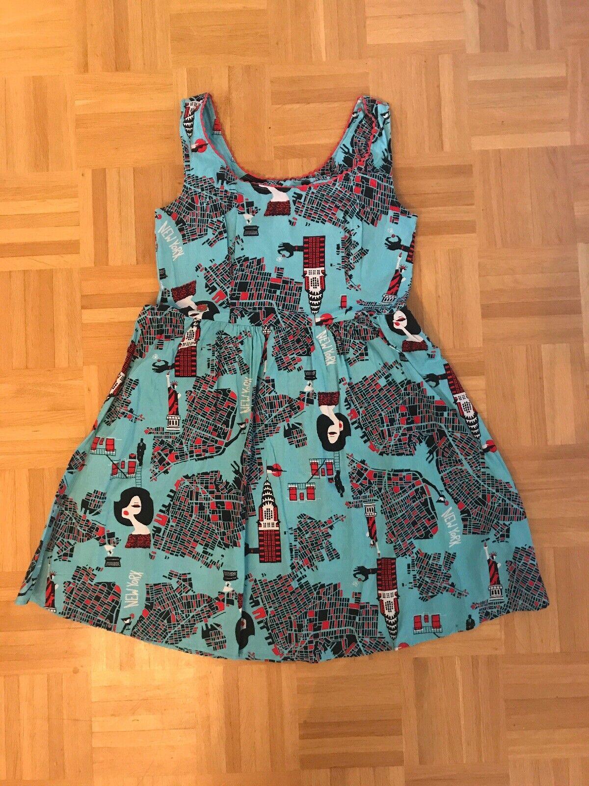 Kleid BlauTSGESCHWISTER L mint Rot Schwarz New City 50er