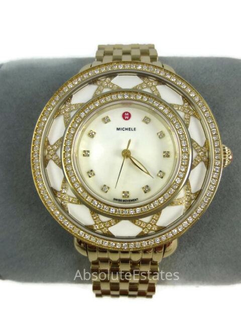 Michele Cloette Limited Edition Gold Diamond White MOP Watch Box NIB Refurb