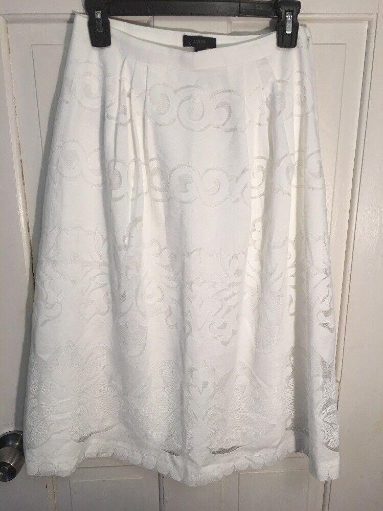 J Crew  128 Womens White Midi Skirt in Ornate Lace Size 2 Style E9057
