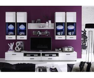 Das Bild Wird Geladen Anbauwand Wohnwand  Wohnzimmerschrank Weiss Attac Ca 280 Cm