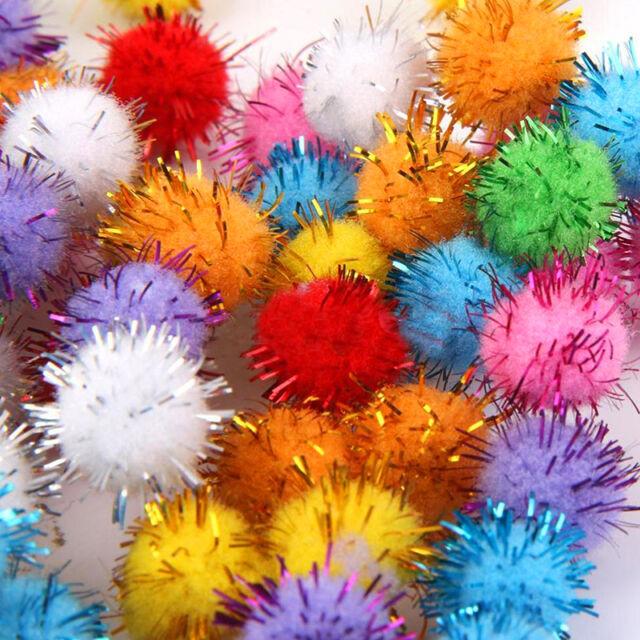 100Pcs Mini Sparkly Glitter Tinsel Pompom Balls Small Pom Ball for Cat Toys