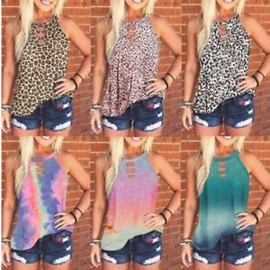 Women-Summer-O-Neck-T-Shirt-Leopard-Blouse-Casual-Beach-Tops-Sleeveless-Tank