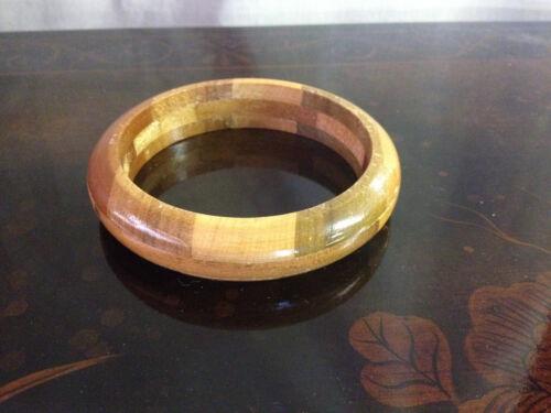 Mid Century Costume Jewelry Geometric Style Solid Round Piece Wood Bangle Bracelet wBrass Rivets Boho Style Natural Wood Bracelet