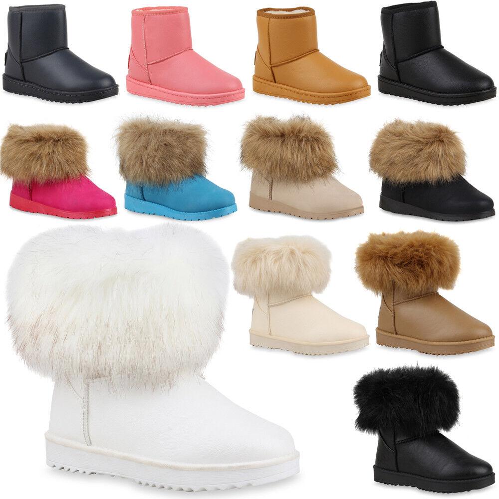 Damen Warm Gefütterte Stiefeletten Boots Schlupfstiefel 99986 Gr. 36-41 Schuhe