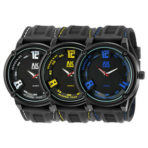 AK-Black-Silicon-Rubber-Men-Sport-Army-Wrist-Watch-Yellow-Blue-White-Big-Numeral