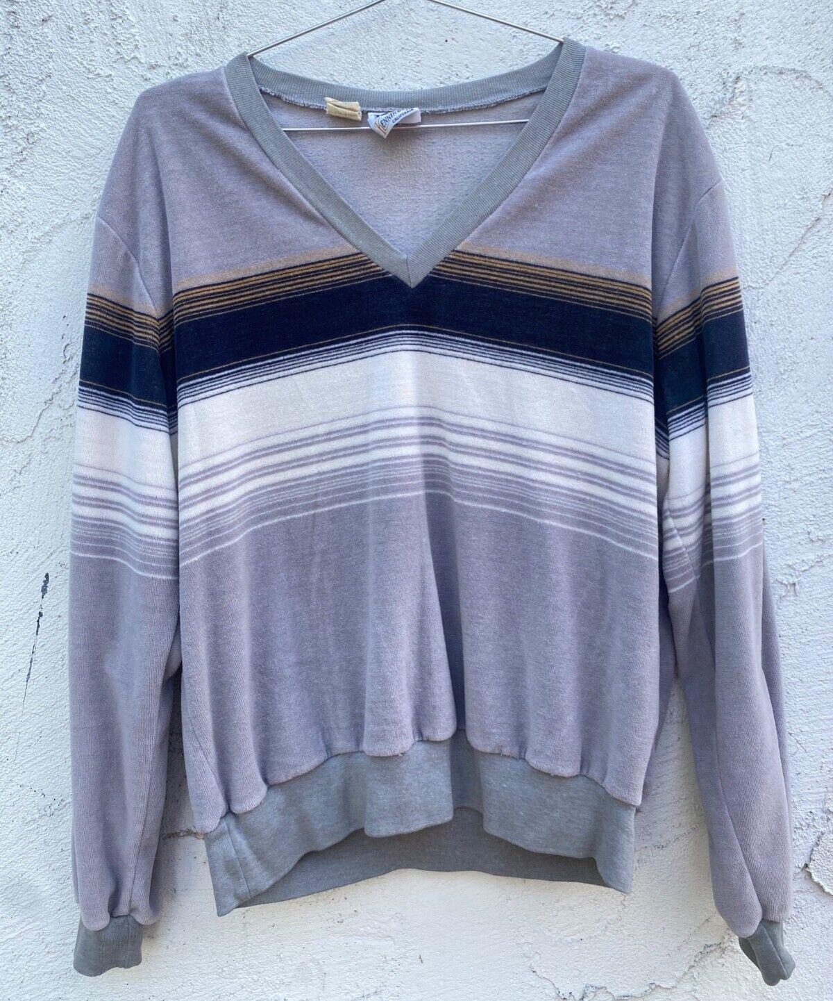 Vintage 70's Striped V-neck Velour Pullover Sweat… - image 1