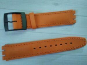 WATCH-BAND-BRACELET-MONTRE-pour-Swatch-cuir-orange-16mm-REF-TV107