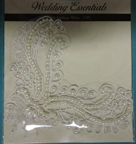 WEDDING BRIDAL PEARL BEADED EMBROIDERED APPLIQUE 3581-WD