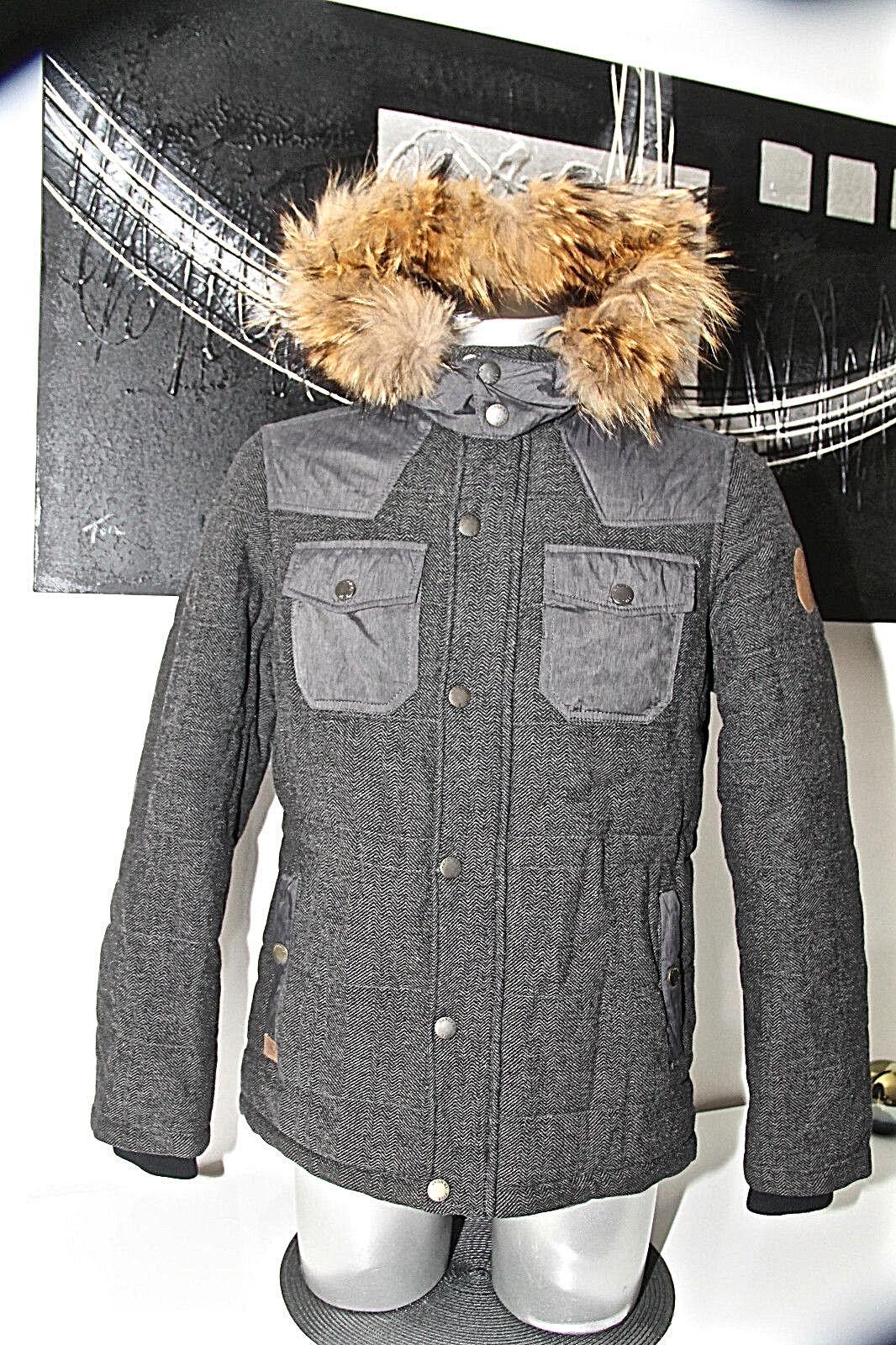 bonita chaqueta de lana con capucha de invierno de piel KAPORAL leriah Tamaño M MINT