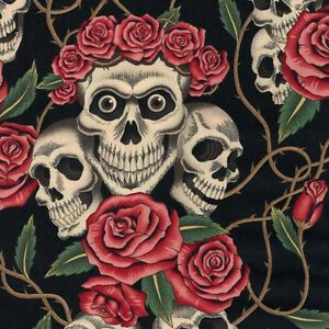 Gothic Rose Tattoo Skulls Roses On Black Cotton Fabric By