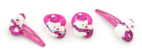Zest 4 Snowman Hair Accessories 2 Hair Slides and 2 Ponios