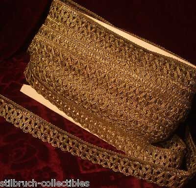 "Antique vintage gold metallic ribbon lace braid trim loops lamp shade 1-1/5"" p.y"
