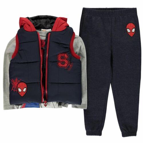 3 Spiderman teiliges Boys T für Set Pants8fd9cdd8f4db2bd633174a12abc58066 Top Shirt Junior Bodywarmer Gilet Kleinkinder beDEYW9IH2