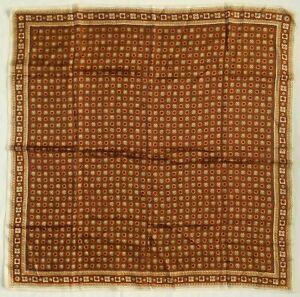 ART-DECO-BROWN-27-034-SQUARE-1950s-VINTAGE-SCARF