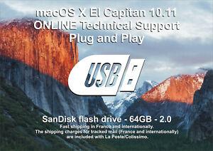SANDISK 64GB USB Stick Plug & Play macOS X 10.11 El Capitan PRE-INSTALLED