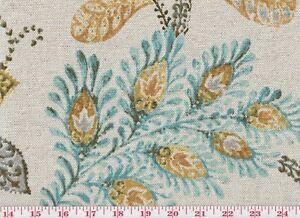 Aqua Floral Print Drapery Upholstery Fabric P Kaufmann Autumn Leaves