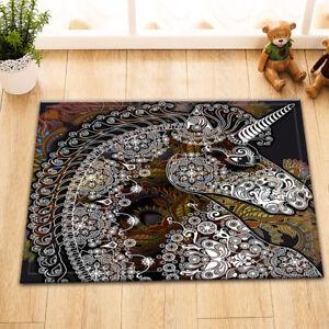 "15X23/"" Foral Unicorn Head Rug Carpet Kitchen Floor Mat Bath Floor Non-Slip Mat"