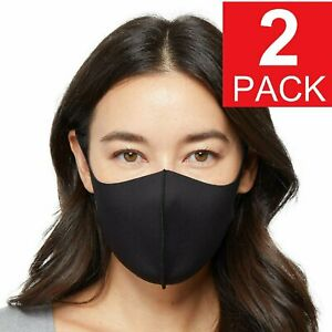 2-Pack Black Adult Face Mask - Reusable Washable Unisex