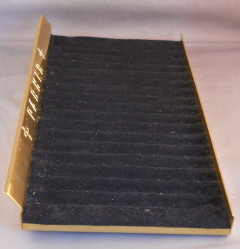 Parker Metal Pen Tray---7-X13-1//2--gold colored--black insert-holds 17 pens