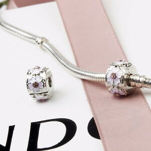 32f332421 Image is loading New-Silver-Plated-Pink-Cherry-Blossom-Clip-Stopper-