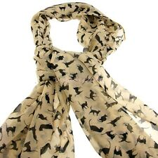 Cat Pattern Scarf Wrap Soft Chiffon  Animal Print  Long Scarf Shawls For Women