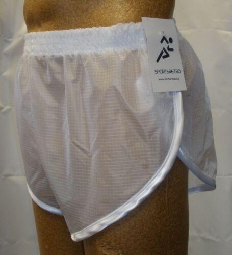 Retro Ultra Sheer Ripstop Nylon Sprinter Shorts S to 4XL White