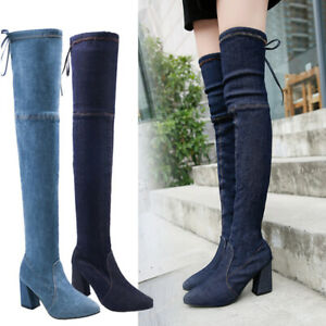 Womens-Sexy-Over-The-Knee-Thigh-High-Heel-Ladies-Stretch-Calf-Leg-Boots-Size