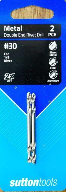 "Sutton Tools #30 Tupoint Drill Bit 2Pcs 135 Deg To Suit 1/8"" Rivets"