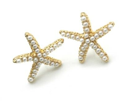 Starfish Pearl Earrings 1/2 inch Stud Pierced Crystal New
