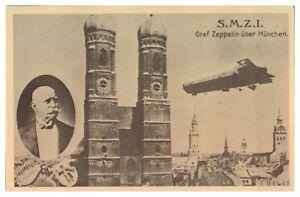 Antique-WW1-military-German-printed-postcard-Graf-Zeppelin-uber-Munchen-SMZI