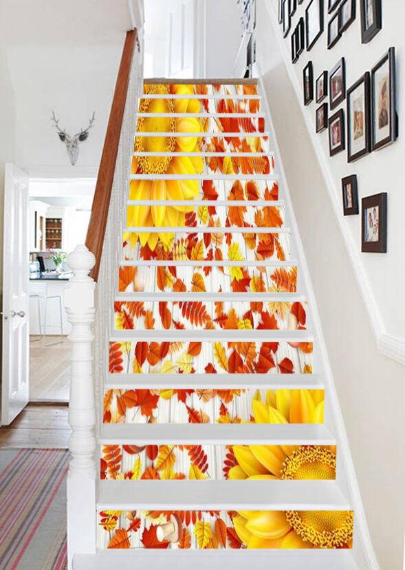 3d Tournesol 7 Stair Risers Décoration Papier Peint Vinyle Autocollant Papier Peint De