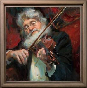 Hand-painted-Original-Oil-painting-art-Impressionism-musician-on-Canvas-30-034-X30-034