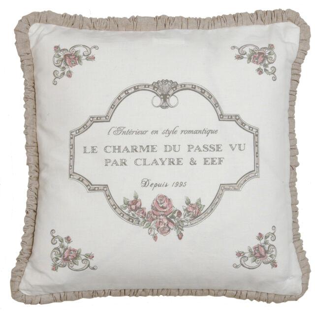 Kissenbezug LE CHARME Hülle 40x40 Weiß Rosa Rosen SHABBY Chic Vintage Style