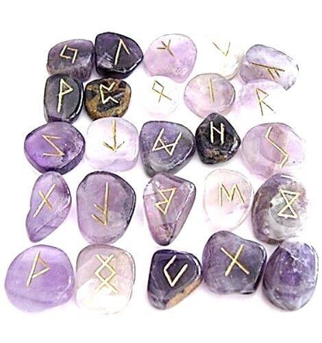 Hand Carved Gemstone Rune stone Set (25pcs) - Amethyst Purple w/Velvet Pouch